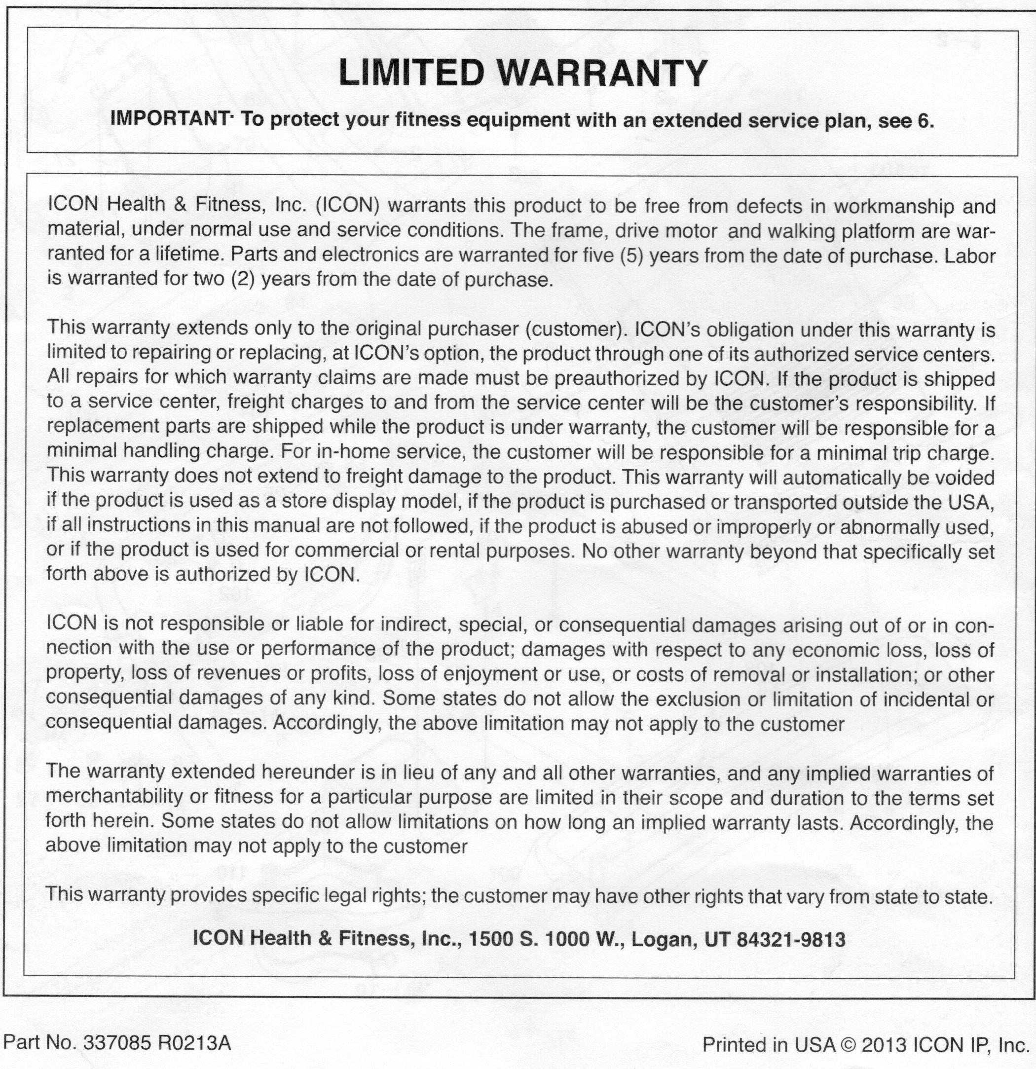 Icon Fitness Warranty