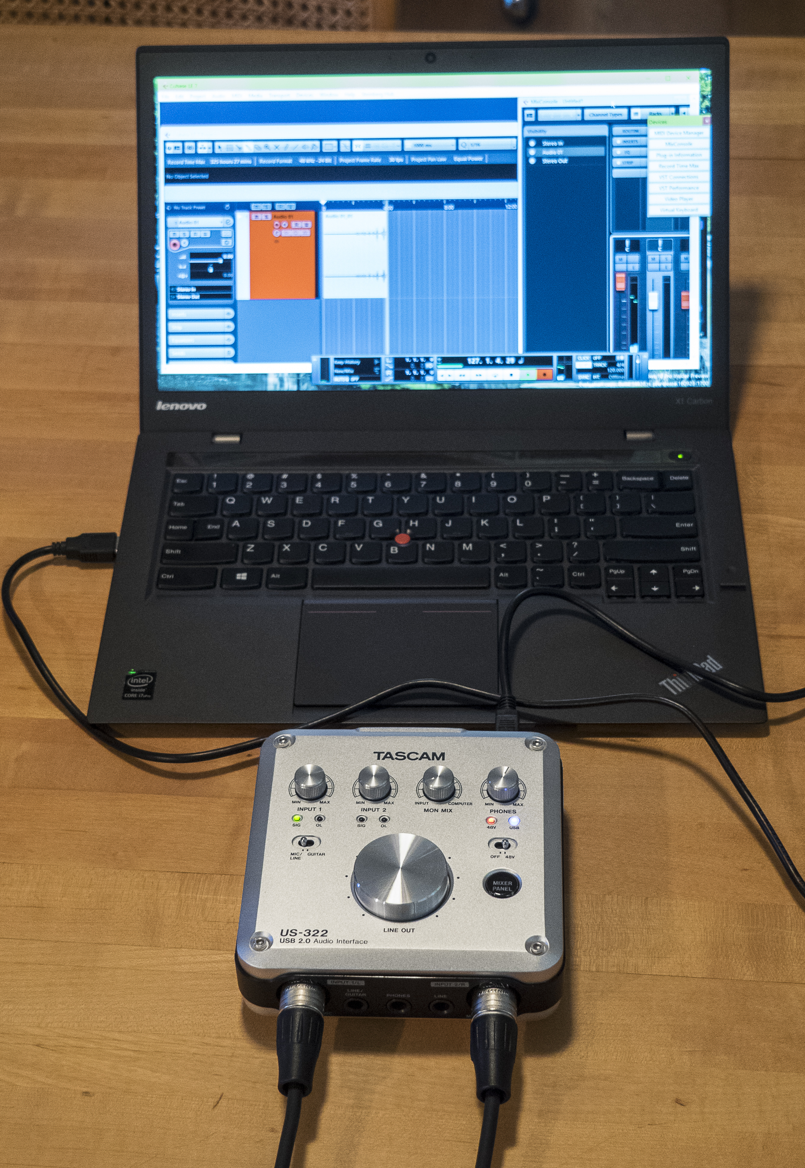 Tascam US-322 preamp and laptop